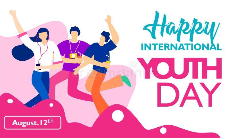 Dia internacional da juventude, o 12 de agosto com ilustração ativa e apaixonado dos jovens ilustração royalty free