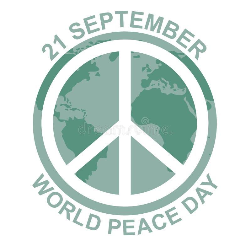 Dia internacional da paz ilustração do conceito com sinal da hippie ilustração do vetor