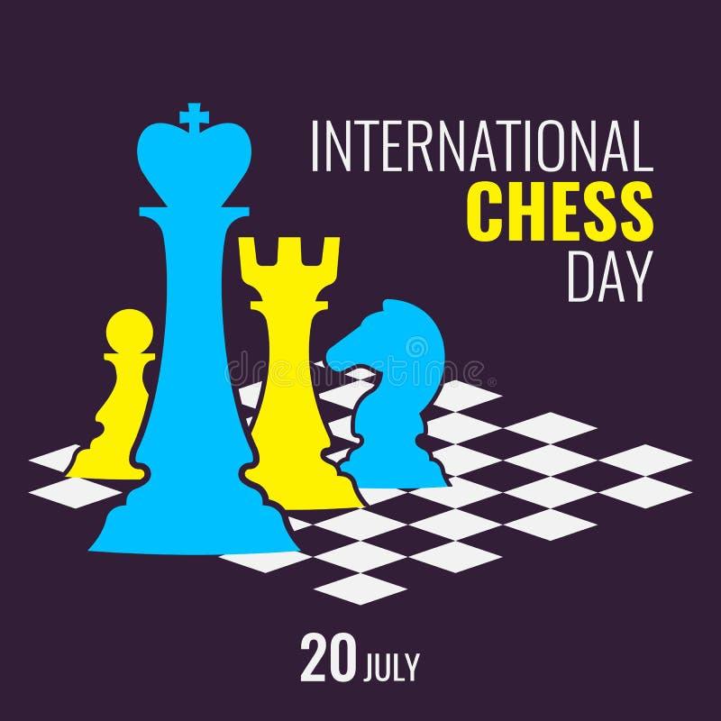 Dia internacional da xadrez ilustração do vetor