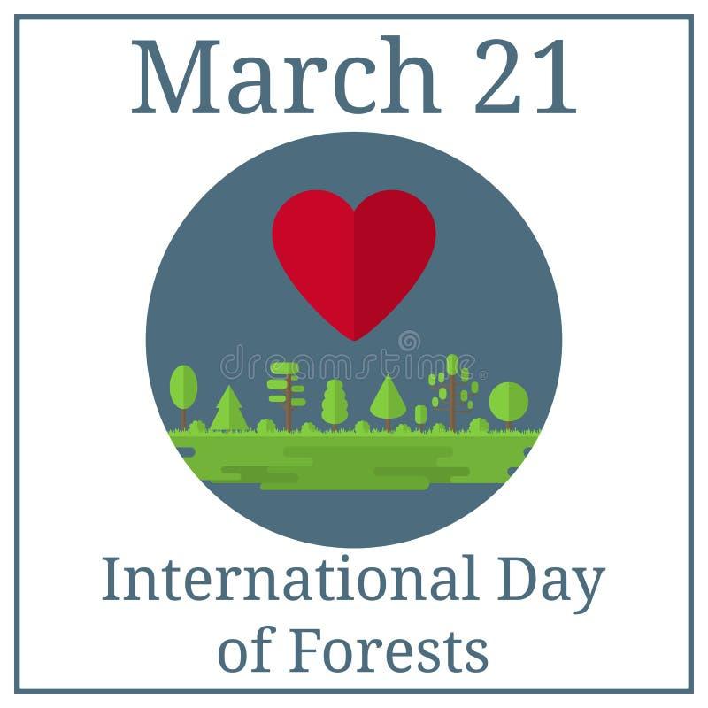 Dia internacional das florestas 21 de março Calendário do feriado de março Floresta, parque, aleia com árvores diferentes Estilo  ilustração do vetor
