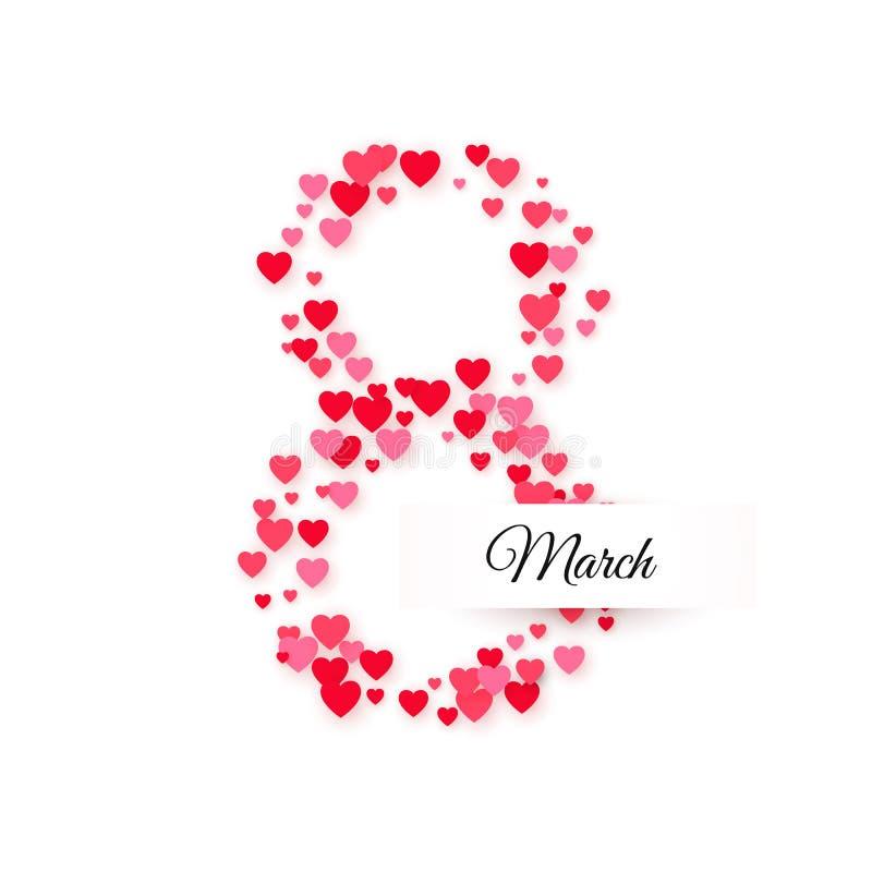 Dia internacional das mulheres 8 de março cumprimentando o cartão Oito são feitos dos corações com etiqueta do texto Conceito da  ilustração do vetor