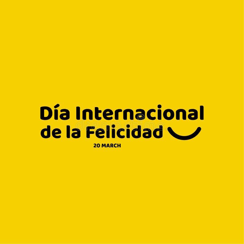Dia Internacional de la Felicidad Vector Template-Ontwerpillustratie stock illustratie