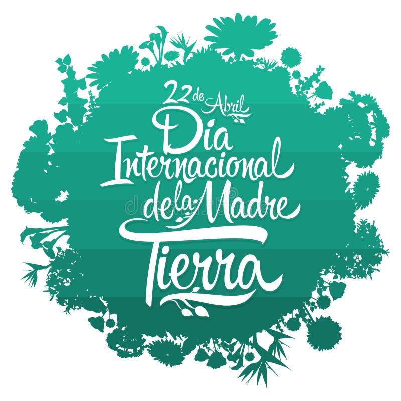 Dia Internacional de la Tierra, de Internationale Spaanse tekst van de Aardedag stock illustratie