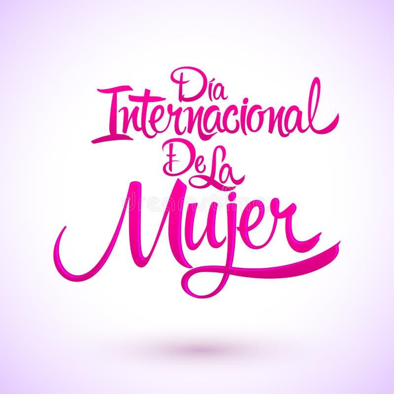 Dia internacional De Los angeles Mujer, Hiszpański przekład: Międzynarodowy kobieta dzień royalty ilustracja