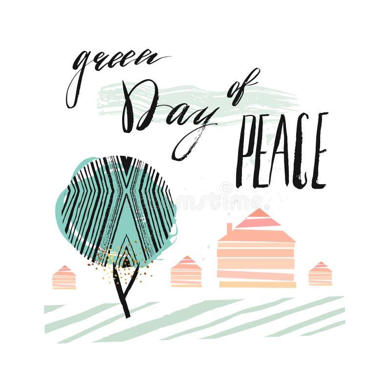 Dia internacional de moldes do cartaz da paz com a árvore abstrata verde, as casas e a rotulação escrita à mão põem em fase o dia ilustração royalty free