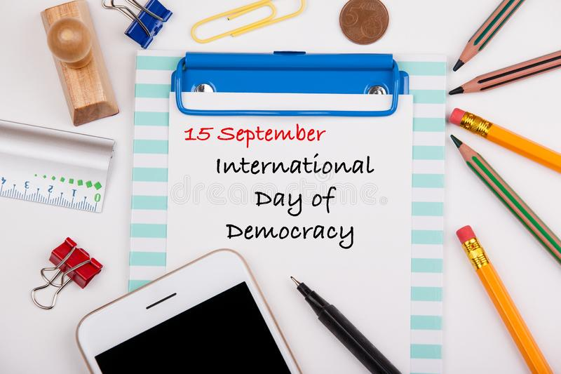 Dia internacional democracia do 15 de setembro fotos de stock