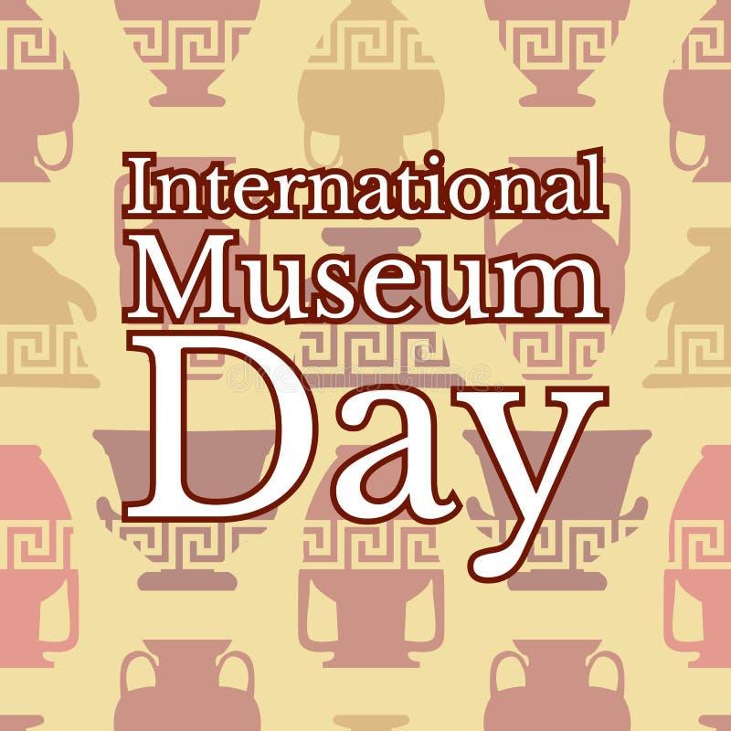 Dia internacional do museu Fundo sem emenda dos vasos gregos ilustração stock