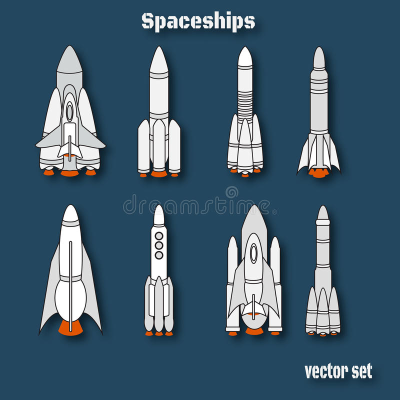 Dia internacional do voo espacial humano Aterrissagem da nave espacial Spac ilustração stock