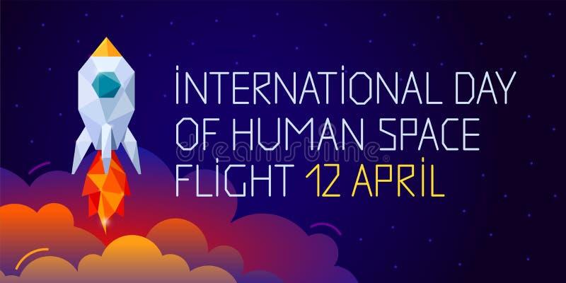 Dia internacional do voo espacial humano 12 de abril ilustração royalty free