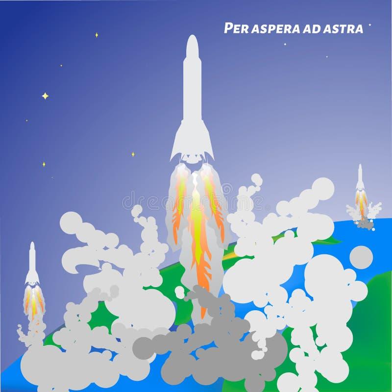 Dia internacional do voo espacial humano Lançamento de Rocket do eart ilustração royalty free