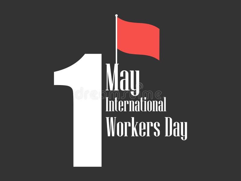 Dia internacional dos trabalhadores Dia Labour ø maio Bandeira vermelha Vetor ilustração stock