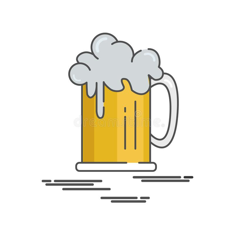 Dia internacional feliz da cerveja da ilustração lisa do ícone ilustração stock