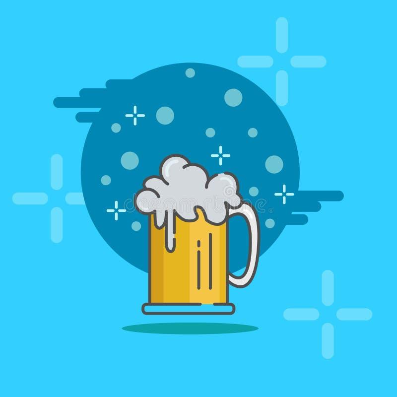 Dia internacional feliz da cerveja da ilustração lisa do ícone ilustração do vetor