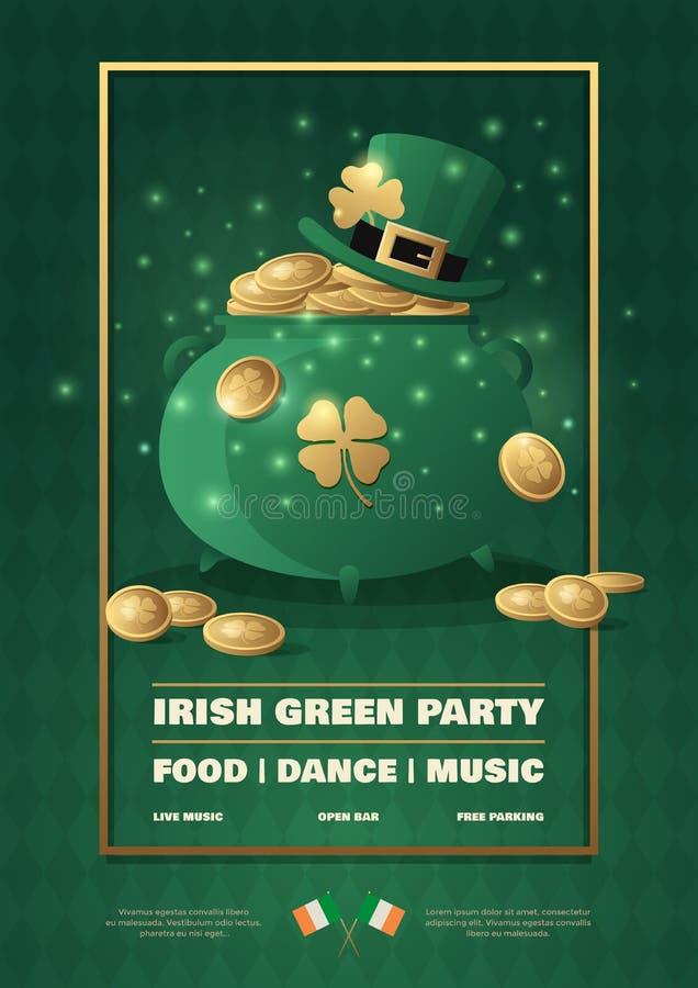 Dia irlandês do ` s de St Patrick do feriado Cartaz de festivo com símbolos no fundo verde ilustração do vetor
