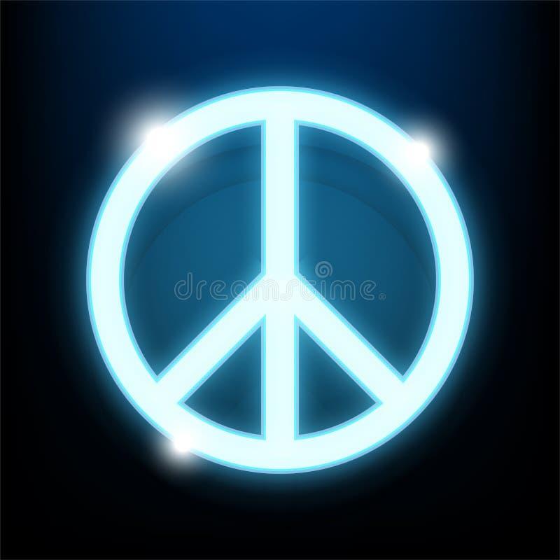 Dia Logo Blue Neon Light da paz ilustração royalty free