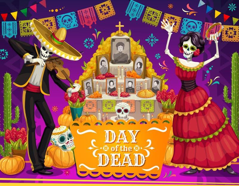 Dia mexicano dos esqueletos inoperantes, altar, crânios do açúcar ilustração royalty free