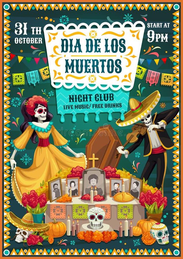 Dia mexicano dos esqueletos inoperantes, crânios, altar ilustração do vetor