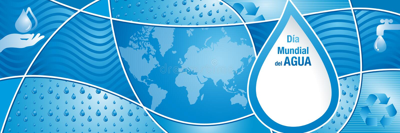 DIA MUNDIAL台尔AGUA -世界在西班牙语蓝色构成的水天与水下落,世界地图手和回收标志 皇族释放例证