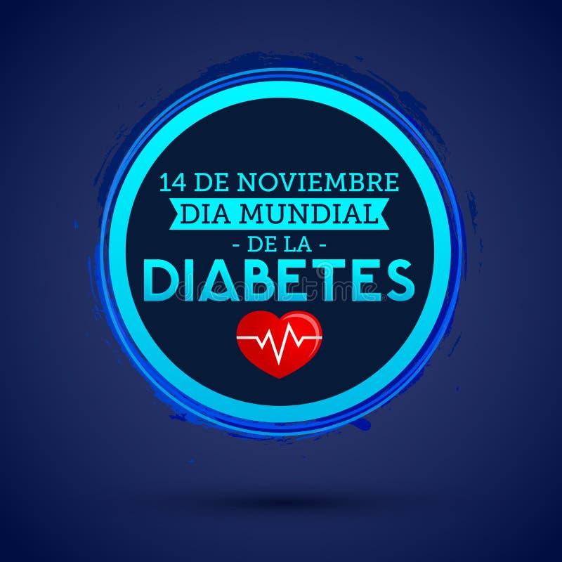 Dia mundial de la Diabetes -世界糖尿病天11月14日西班牙语发短信 传染媒介糖尿病蓝色圈子标志 皇族释放例证