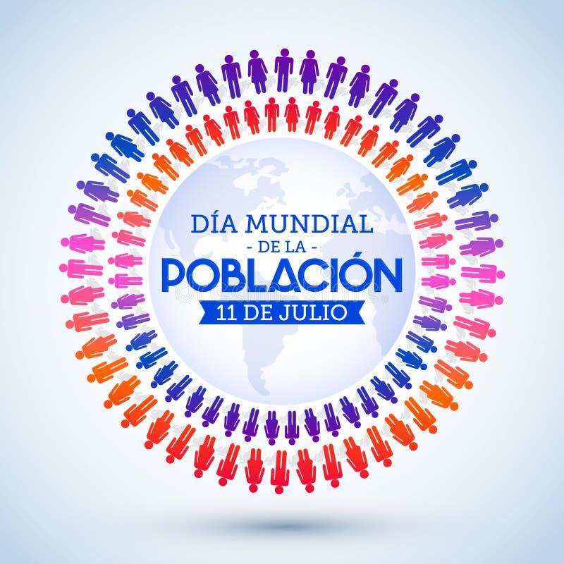 Dia Mundial de la Poblacion, texto del español del día de la población de mundo stock de ilustración
