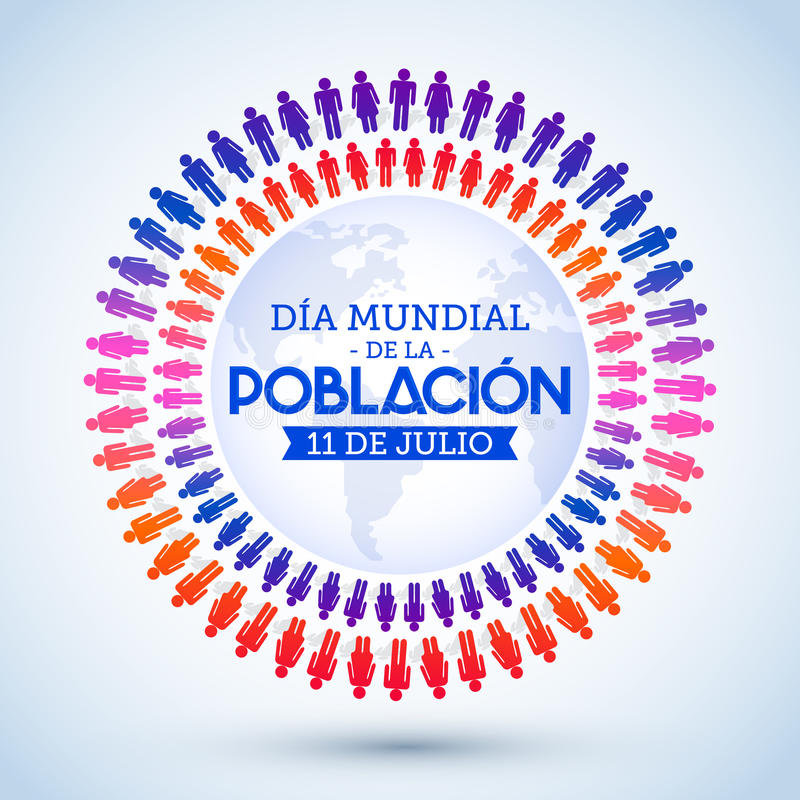 Dia Mundial de la Poblacion, World Population Day spanish text stock illustration