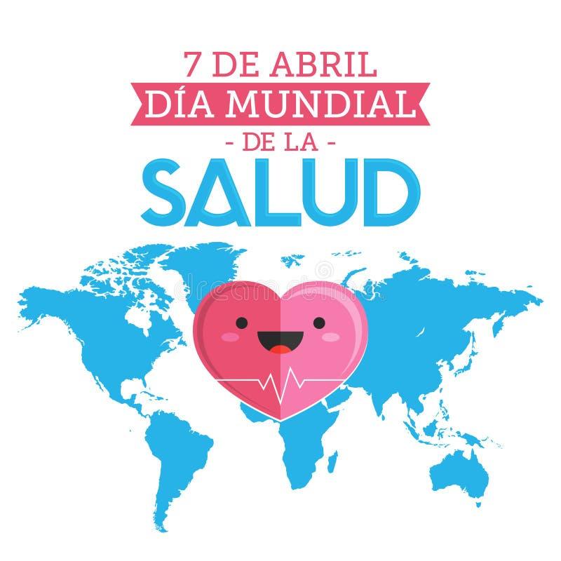 Dia Mundial De Los angeles Salud, Światowych zdrowie dnia Kwietnia 7 hiszpański tekst royalty ilustracja