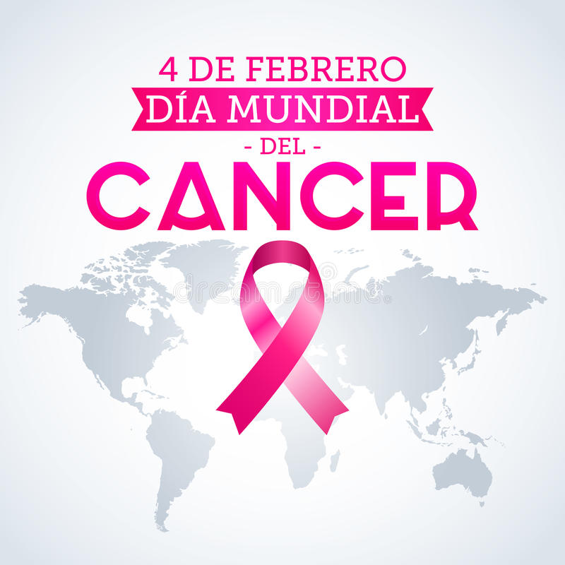 Dia mundial del Cancer - ισπανικό κείμενο στις 4 Φεβρουαρίου ημέρας παγκόσμιου καρκίνου ελεύθερη απεικόνιση δικαιώματος