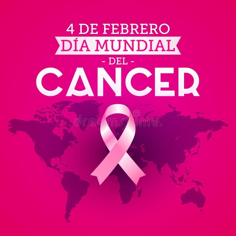 Dia mundial del Cancer - ισπανικό κείμενο στις 4 Φεβρουαρίου ημέρας παγκόσμιου καρκίνου Ρόδινος χάρτης κορδελλών και κόσμων διανυσματική απεικόνιση