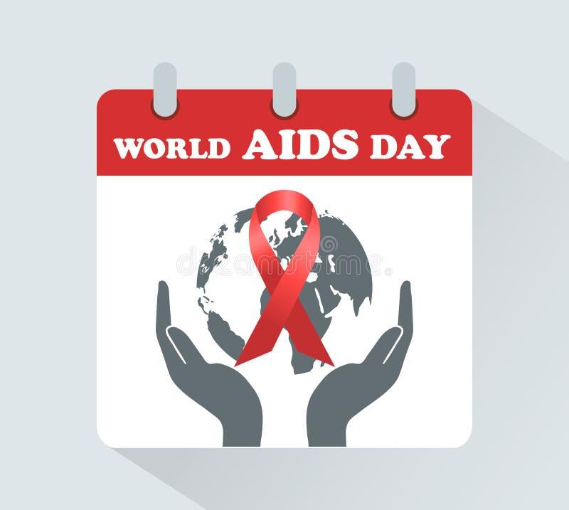 Dia Mundial do Sida 1º de dezembro no calendário O símbolo é uma fita vermelha ilustração royalty free