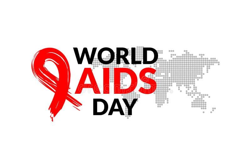 Dia Mundial do Sida com ilustração vermelha tirada mão do vetor do projeto da fita Projeto do ícone da conscientização do SIDA pa ilustração royalty free