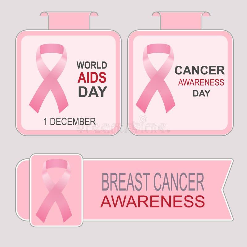 Dia Mundial do Sida Conscientização do câncer da mama ilustração royalty free