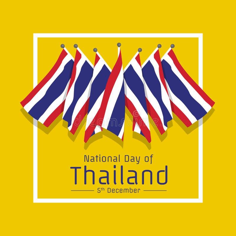 Dia nacional da bandeira de Tailândia com grupo de bandeira de Tailândia no projeto amarelo do vetor do fundo ilustração do vetor