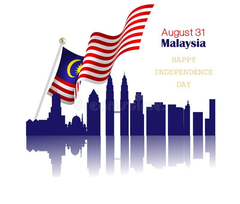 Dia nacional de Malásia ilustração do vetor