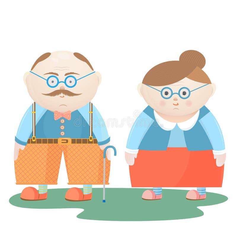 Dia nacional dos Grandparents Avô e avó engraçados ilustração stock