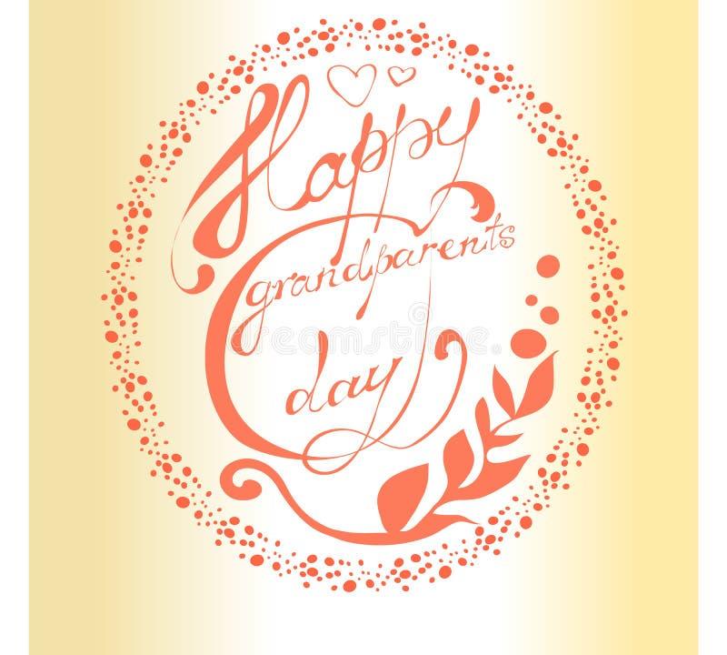 Dia nacional dos Grandparents Cartão com letras bonitas ilustração do vetor