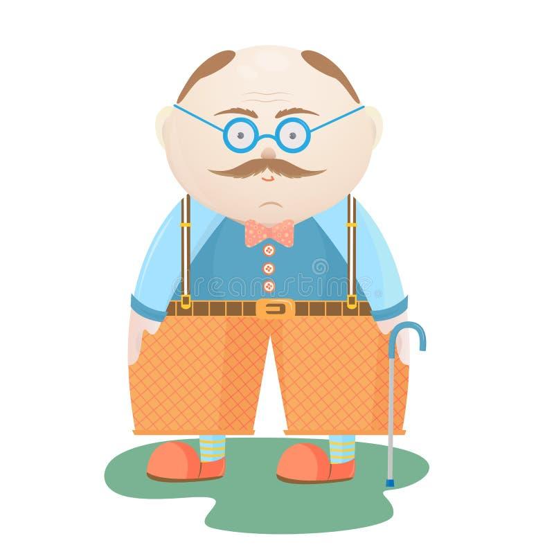 Dia nacional dos Grandparents Um ancião com um bigode nos vidros com uma vara de passeio ilustração do vetor