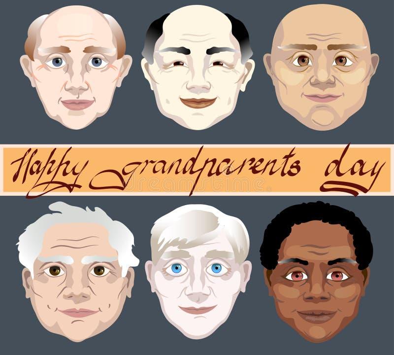 Dia nacional dos Grandparents Um grupo de cores da pele diferentes das caras dos avôs ilustração do vetor no fundo cinzento ilustração do vetor