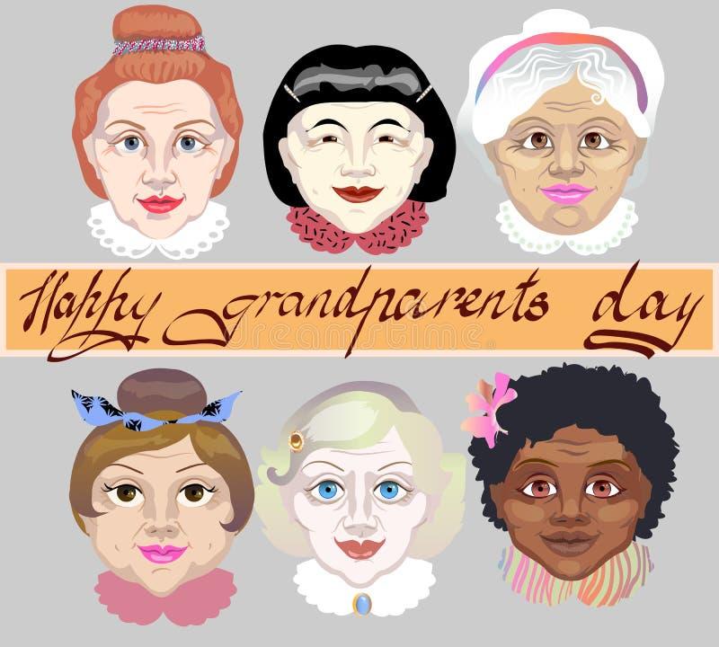 Dia nacional dos Grandparents Um grupo de ` das avó enfrenta cores da pele diferentes ilustração do vetor no fundo cinzento ilustração do vetor