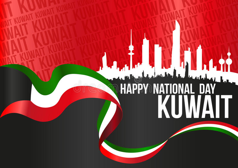 Dia nacional feliz Kuwait - cartaz horizontal ilustração royalty free
