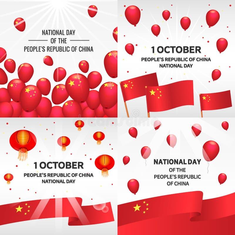 Dia nacional no grupo da bandeira de China, estilo isométrico ilustração stock