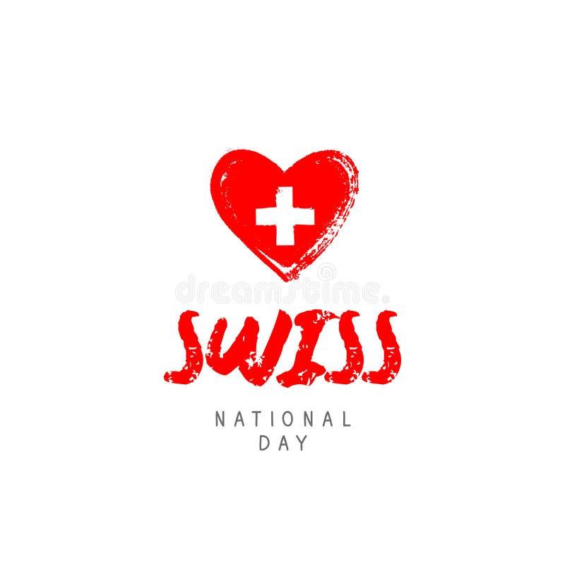 Dia nacional suíço Coração vermelho ilustração do vetor