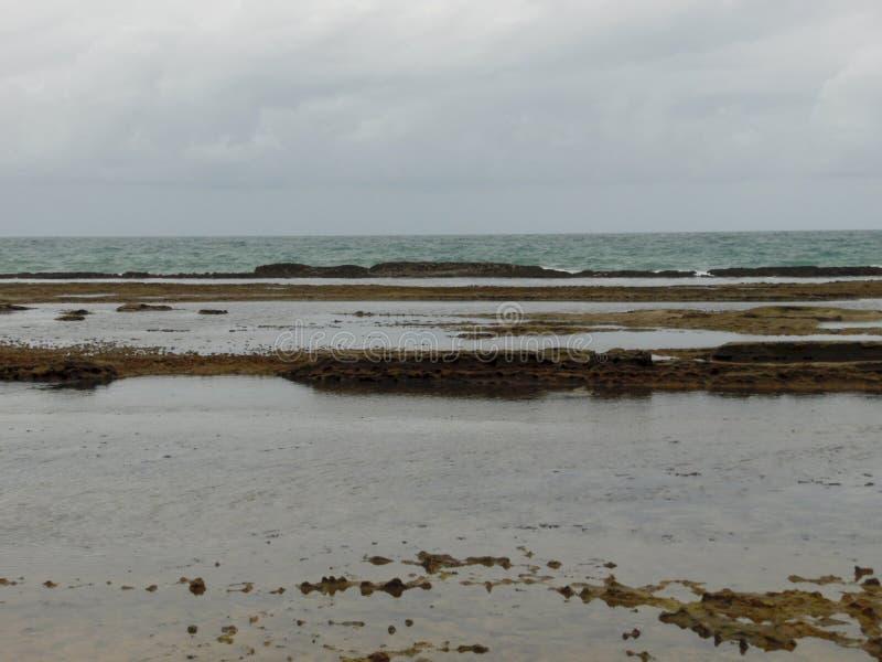 Dia nebuloso na praia de Porto de Galinhas foto de stock