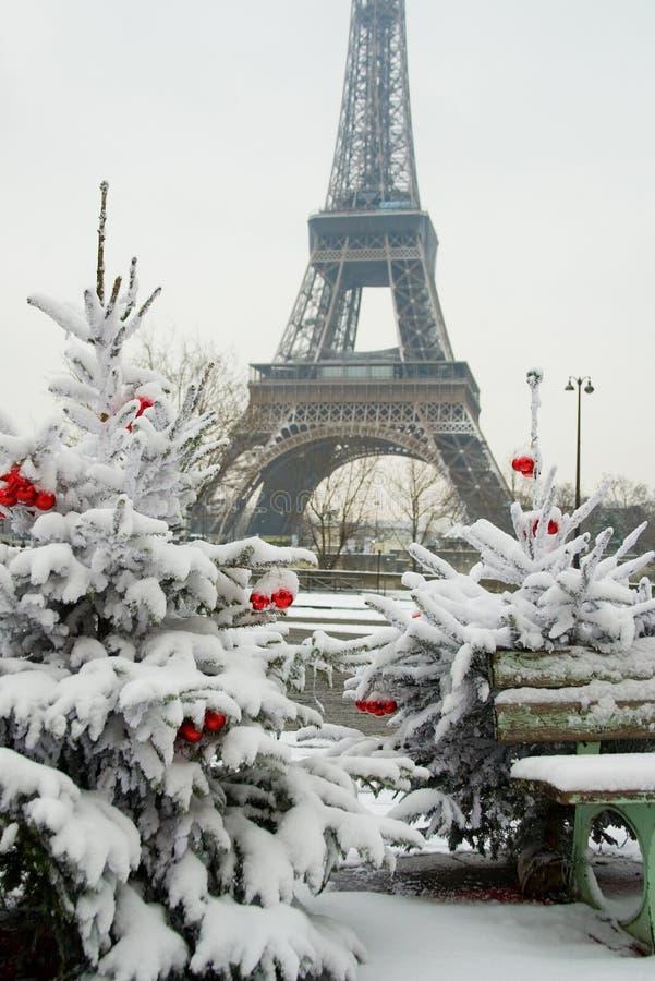 Dia nevado raro em Paris fotografia de stock