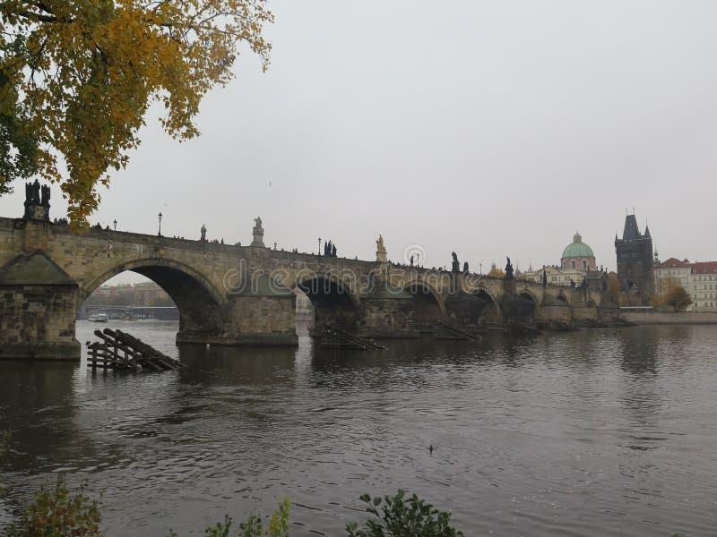 Dia nevoento pela ponte de Charles foto de stock royalty free