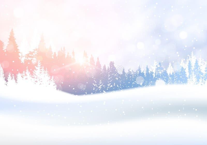 Dia no fundo das madeiras do pinheiro de Forest Woodland Landscape White Snowy do inverno ilustração do vetor
