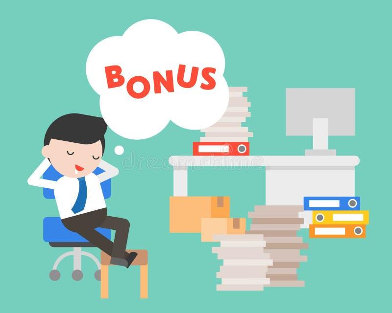 Dia preguiçoso do homem de negócios que sonha sobre o bônus, conceito do negócio ilustração royalty free