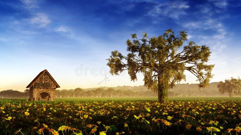 Dia romântico da paisagem ilustração royalty free