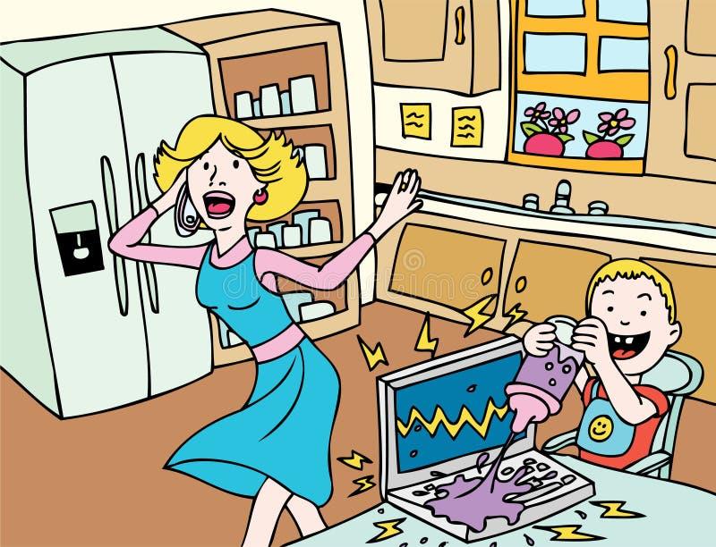 Dia ruim para a mamã: Acidente do portátil ilustração do vetor