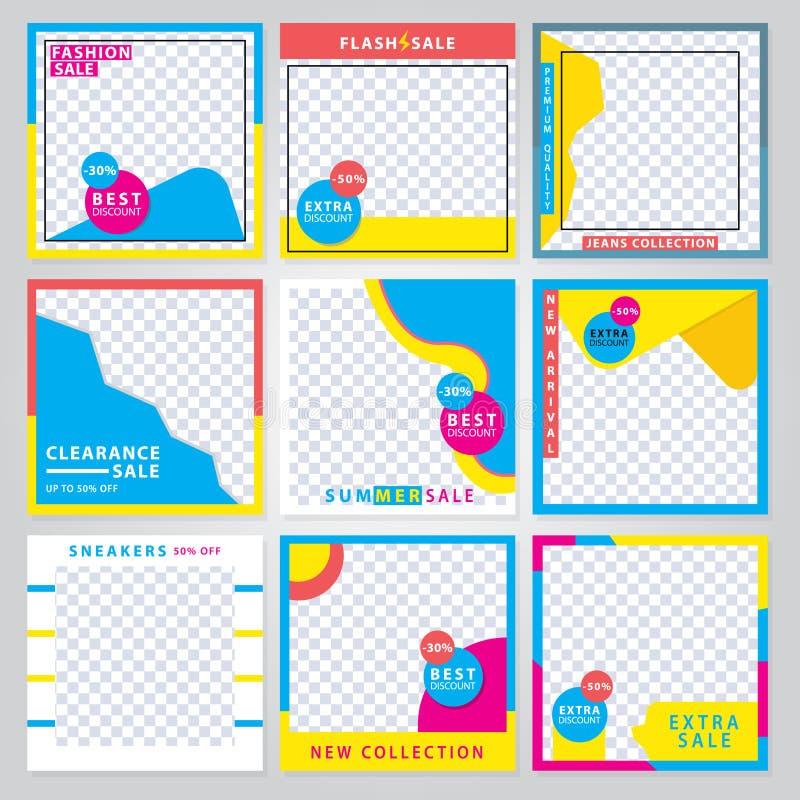 9 dia's modern Sociaal Media bannermalplaatje Promotie vierkante Webbanner voor sociale media De ontwerpen van het bannermalplaat stock foto