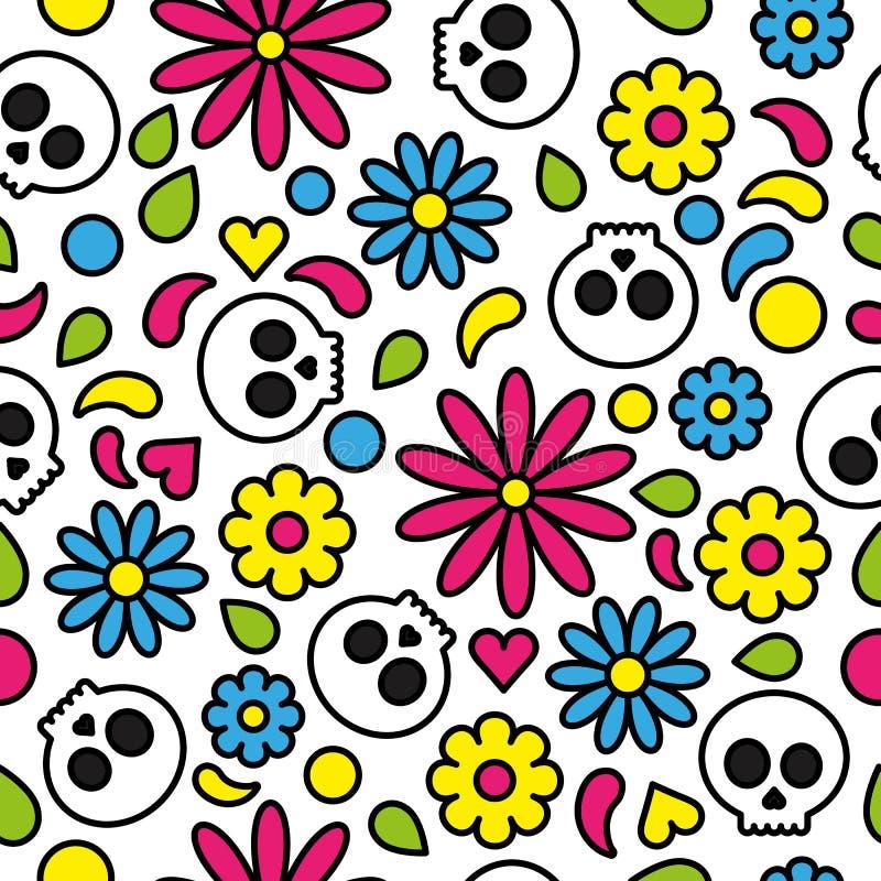 Dia sem emenda do teste padrão do crânio do colorido brilhante floral bonito inoperante ilustração do vetor